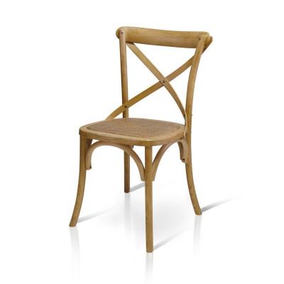Sedia Felix in legno effetto invecchiato vintage, con seduta in rattan naturale, sedia x 4 pz.