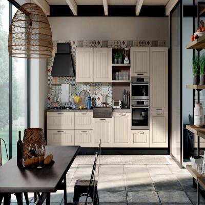 Elba modular kitchen, with slatted door and boiserie