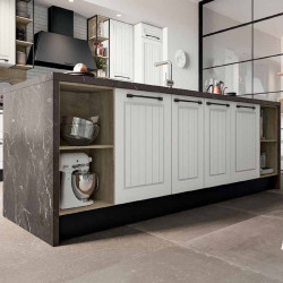 Elba modular kitchen, with slatted door