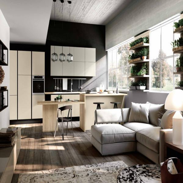 Caprera modular kitchen, with groove door opening