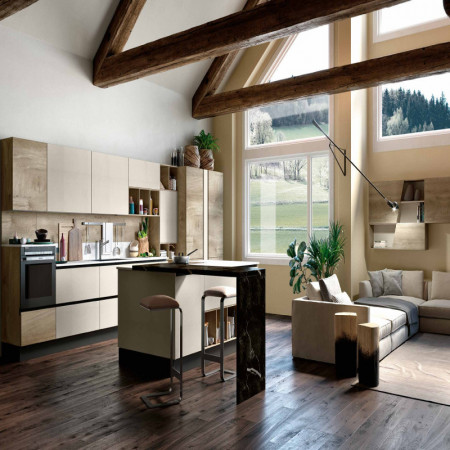 Capri modular kitchen, with island and integrated table