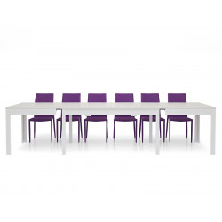 Lar s 1 rectangular table in white ash laminate, with 4 extensions of 43