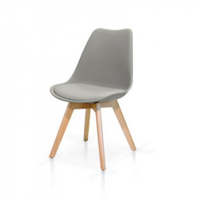 Sedia Tulip con seduta e schienale in pp, cuscino in ecopelle imbottita, gambe in faggio, colore bianco, grigio, sedia x 2 pz.