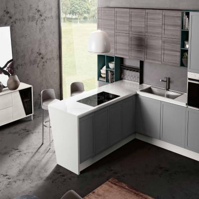 Amalfi modular kitchen, peninsula bar with inclined leg
