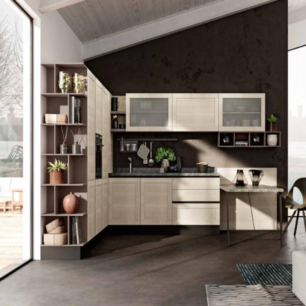 Modular Lipari kitchen, with sail opening wall units