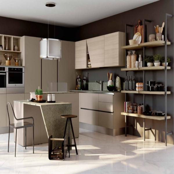 Panarea modular kitchen, with groove door opening