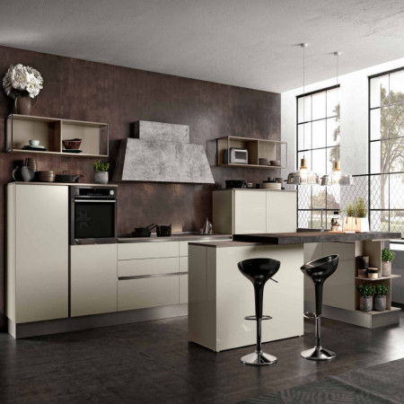 Ischia modular kitchen, peninsula with staggered tops