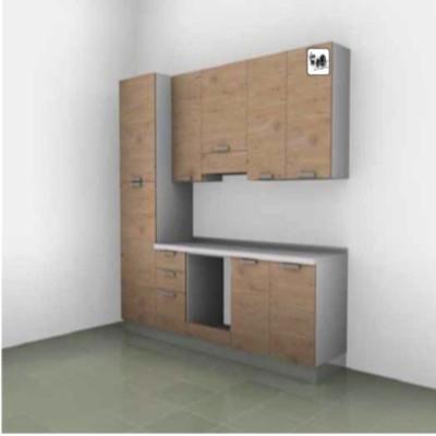 Ischia modular kitchen, peninsula with