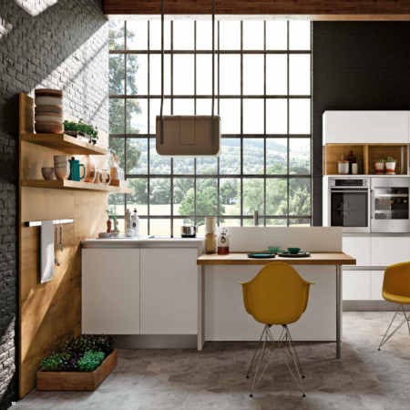 Positano modular kitchen, boiserie equipped with shelves