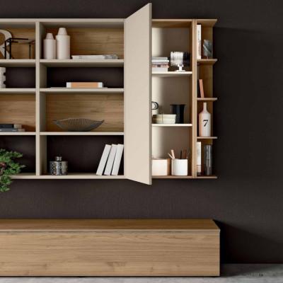 Saturno 300 living room, matt Barley color, QSM300 blond walnut