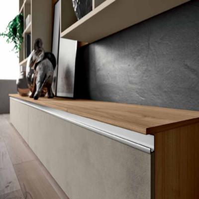 Saturno 301 living room, clay color, blond walnut QSM301