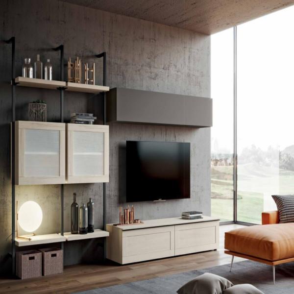 Saturno 303 living room, ash gray color, bleached oak QSM303