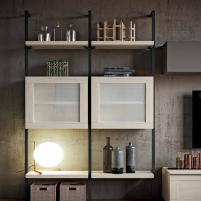 Salon Saturno 303, couleur gris cendré, chêne blanchi QSM303