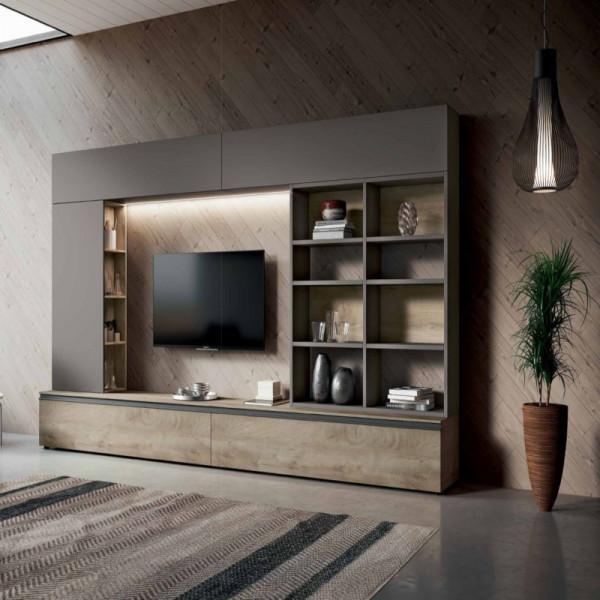 Salon Saturno 304, couleur gris cendré, chêne QSM304