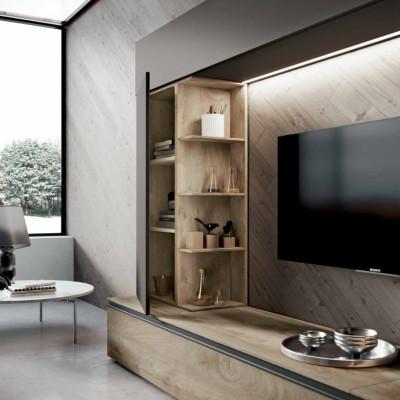 Saturno 304 living room, ash gray color, QSM304 oak