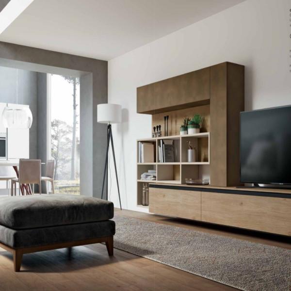 Saturno 305 living room, copper oxide color, pickled oak QSM305