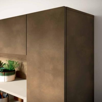 Salon Saturno 305, couleur oxyde de cuivre, chêne mariné QSM305