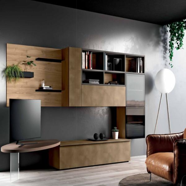 Living room Saturno 312, blond walnut, copper oxide QSM312