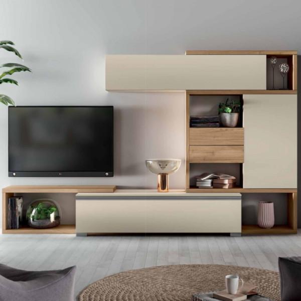 Saturno 317 living room, matt barley color, blond walnut QSM317