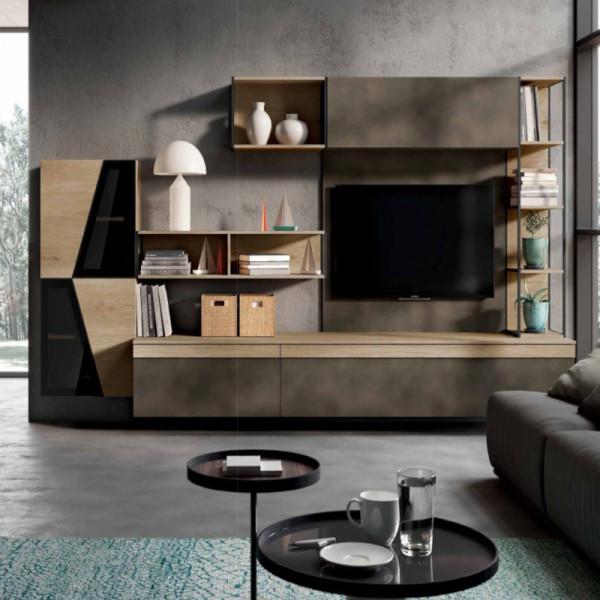 Saturno 316 living room, burnished oxide color, pickled oak QSM316