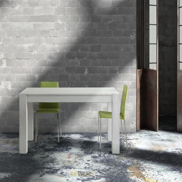 Tavolo Siria allungabile, in legno massello, abete spazzolato, colore bianco