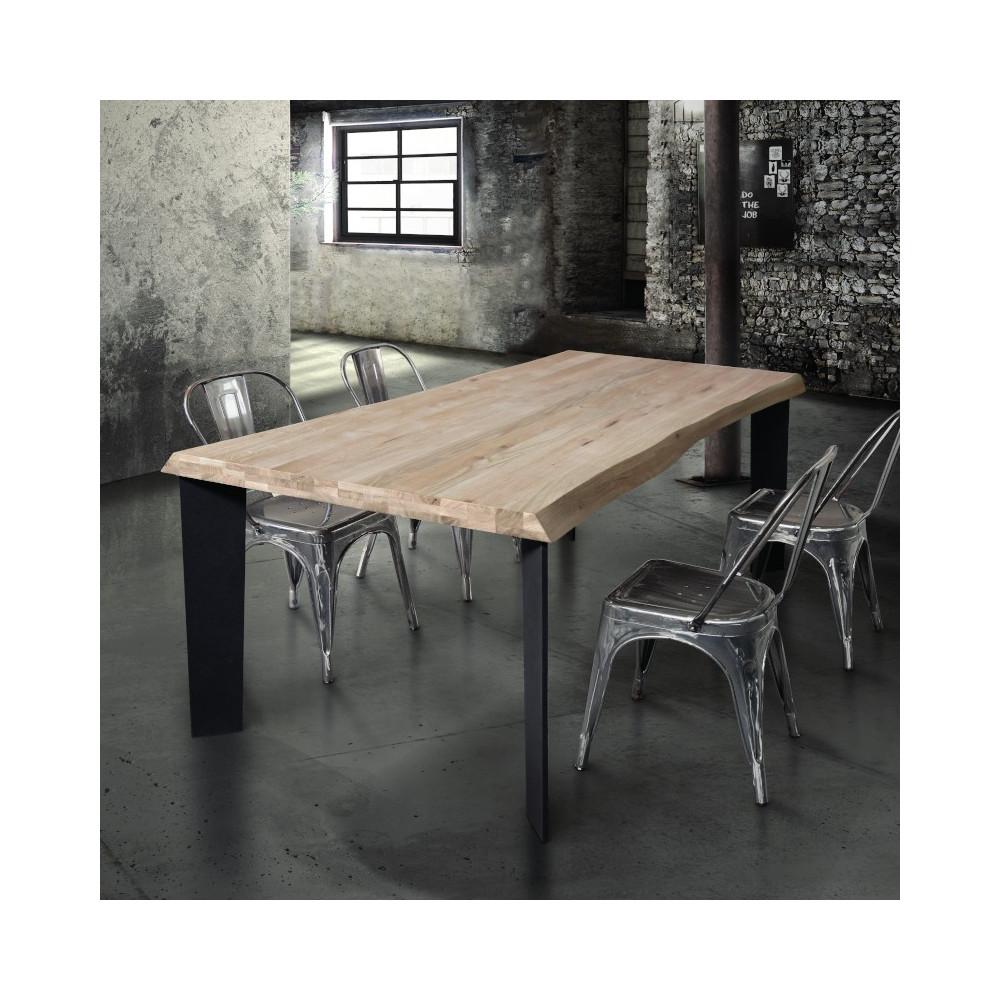 Tavolo Basic in legno massello, nodo aperto, colore rovere naturale ...