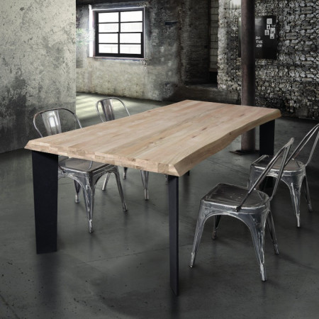 Basic fixed table in solid wood 4 or 6 cm thick, open knot, natural oak color, metal legs