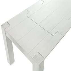 Extendable Syria table, in solid wood, brushed fir, white color