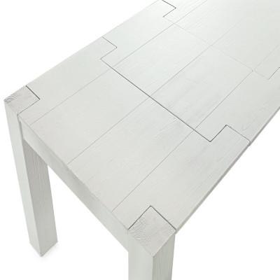Table à rallonges Syria, en bois massif, sapin brossé, coloris blanc