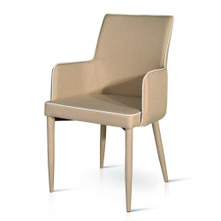 Padded armchair, in dove...