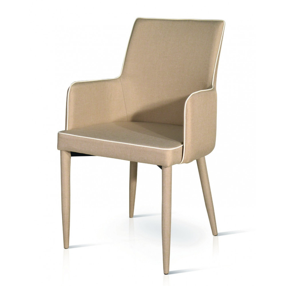 Padded armchair, in dove gray, gray and