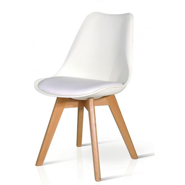 Sedia Tulip con seduta e schienale in pp, cuscino in ecopelle imbottita, gambe in faggio, colore bianco, grigio