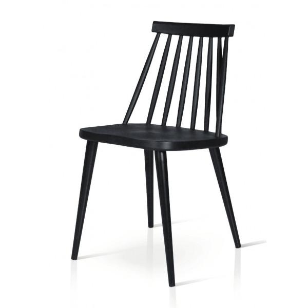 Sedia Diva con seduta e schienale in polipropilene  e struttura in metallo, colore bianco e nero, sedia x 2 pz.