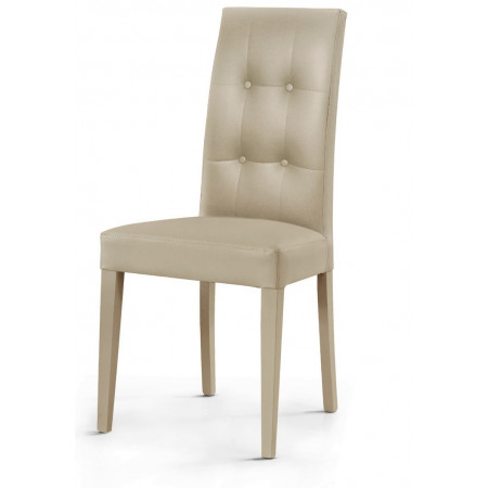 Gustavo upholstered chair, in eco-leather, 4-button design on the back, structure and legs in beech, chair x 2 pcs.