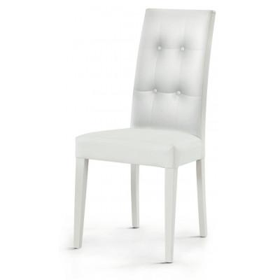 Chaise rembourrée Gustavo, en éco-cuir, design à 4 boutons sur le dos, structure et pieds en hêtre, chaise x 2 pcs.