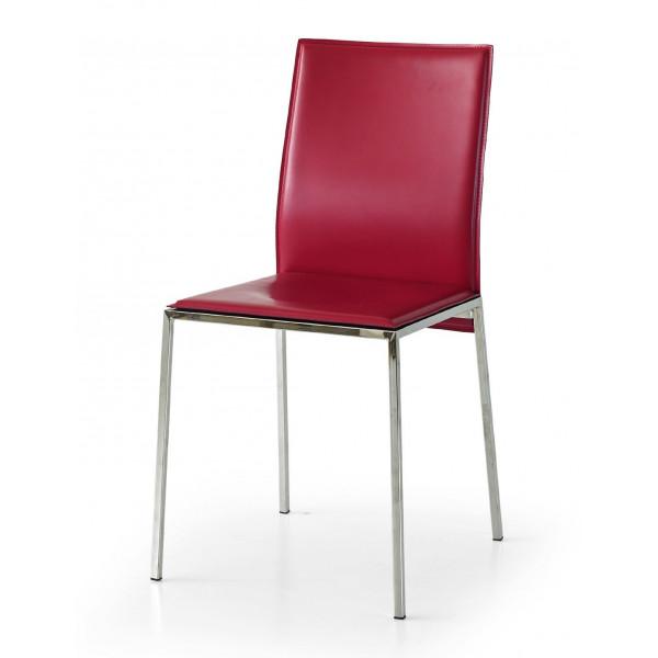 Sedia Berry in ecopelle, struttura in metallo, gambe metallo cromato