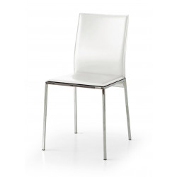 Berry chair in eco-leather, metal frame, chromed metal legs, chair x 2 pcs