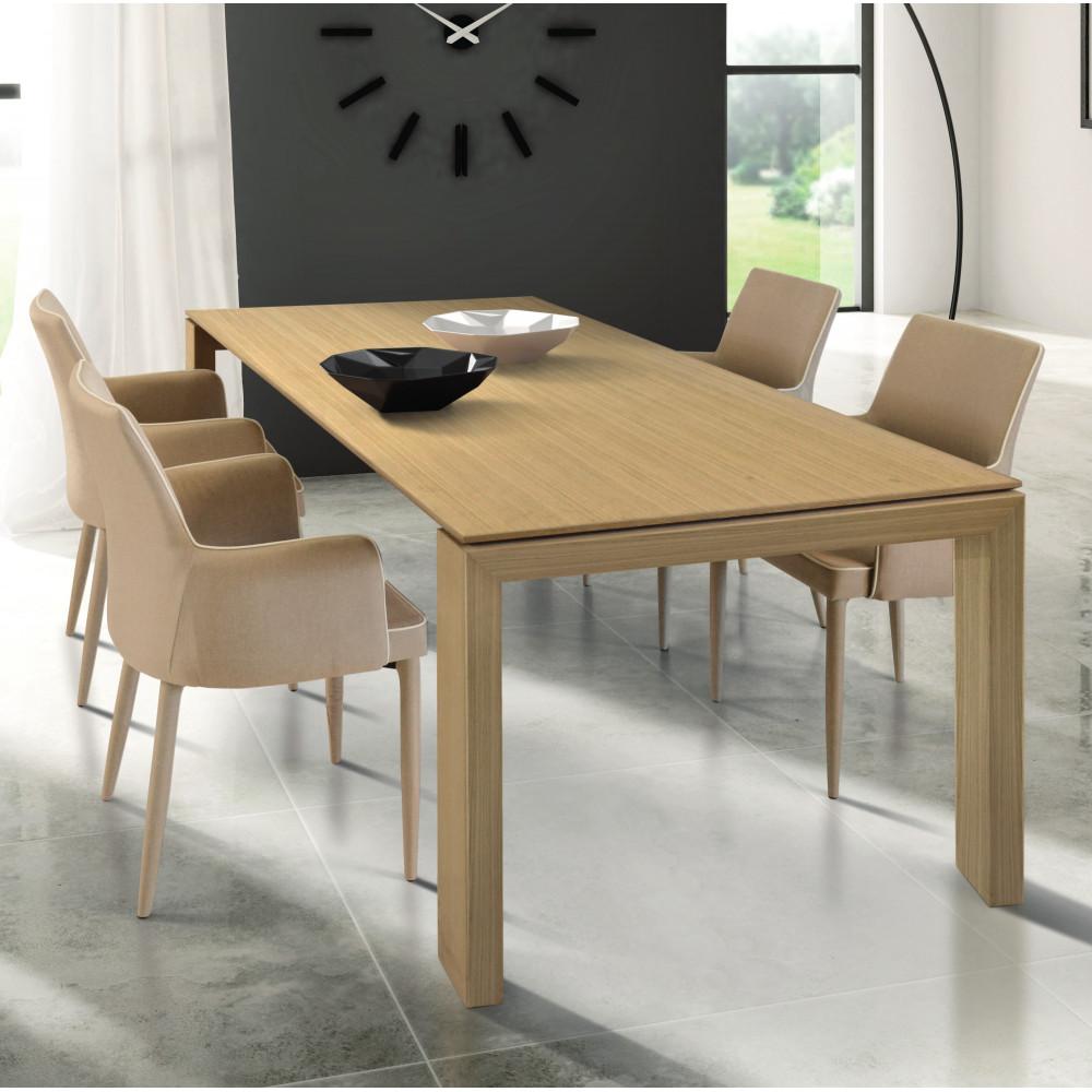 Tavolo Torino allungabile, in legno listellare massello, colore rovere  naturale, allungabile con 2 all. da 40 cm
