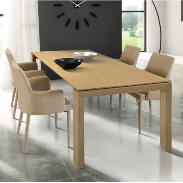Table extensible Torino en stratifié, effet chêne naturel, avec 2 rallonges de 40 cm