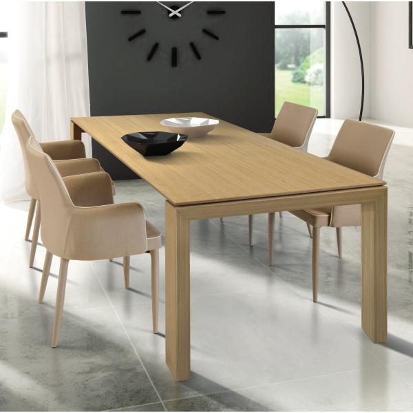 Tavolo Torino allungabile in laminato, effetto rovere naturale, allungabile con 2 allunghe da 40 cm
