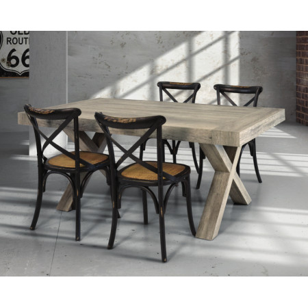 Extendable Keros table, in laminate with aged wood effect, laminate legs, solid wood structure