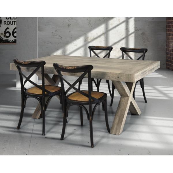 Tavolo Keros allungabile, in laminato con effetto legno invecchiato