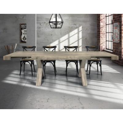 Table Keros à rallonge, en stratifié effet bois vieilli, pieds en stratifié, structure en bois massif