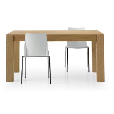 Table extensible Antiparo, avec 2 rallonges de 40 cm en bois de chêne naturel brossé