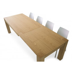 Antiparo extendable table, with 2 extensions of 40 cm in brushed natural oak wood