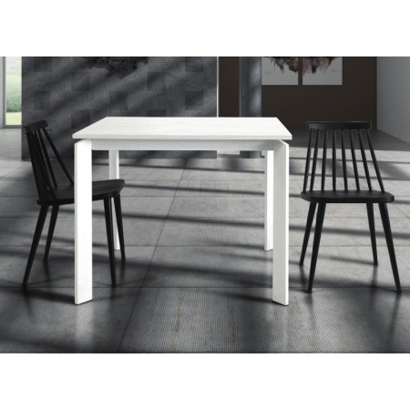 Lipari extendable table, in white ash laminate, metal structure and legs