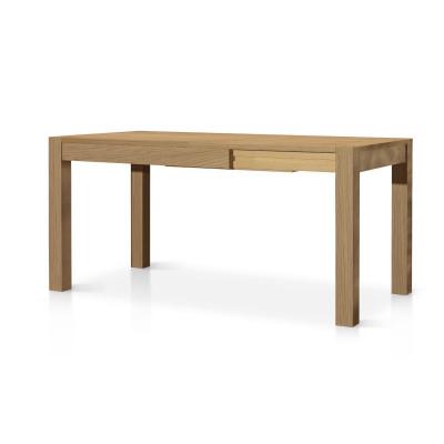 Tavolo Ibiza allungabile in legno massello, con un allunga da 50 cm, colore rovere naturale