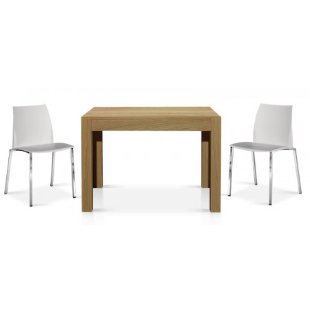 Ibiza extendable table in solid wood, with a 50 cm extension, natural oak color