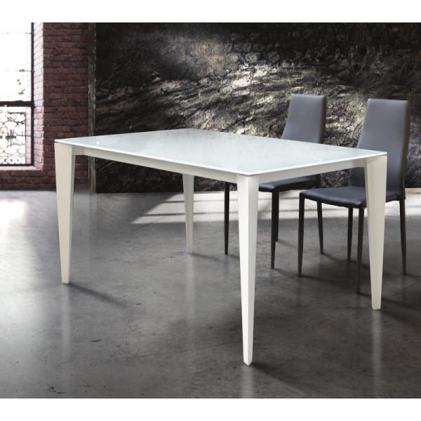 Table extensible Azalea, plateau en verre trempé, structure en métal, coloris blanc