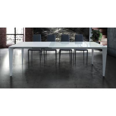 Tavolo Azalea allungabile, piano in vetro temperato, struttura in metallo, colore bianco